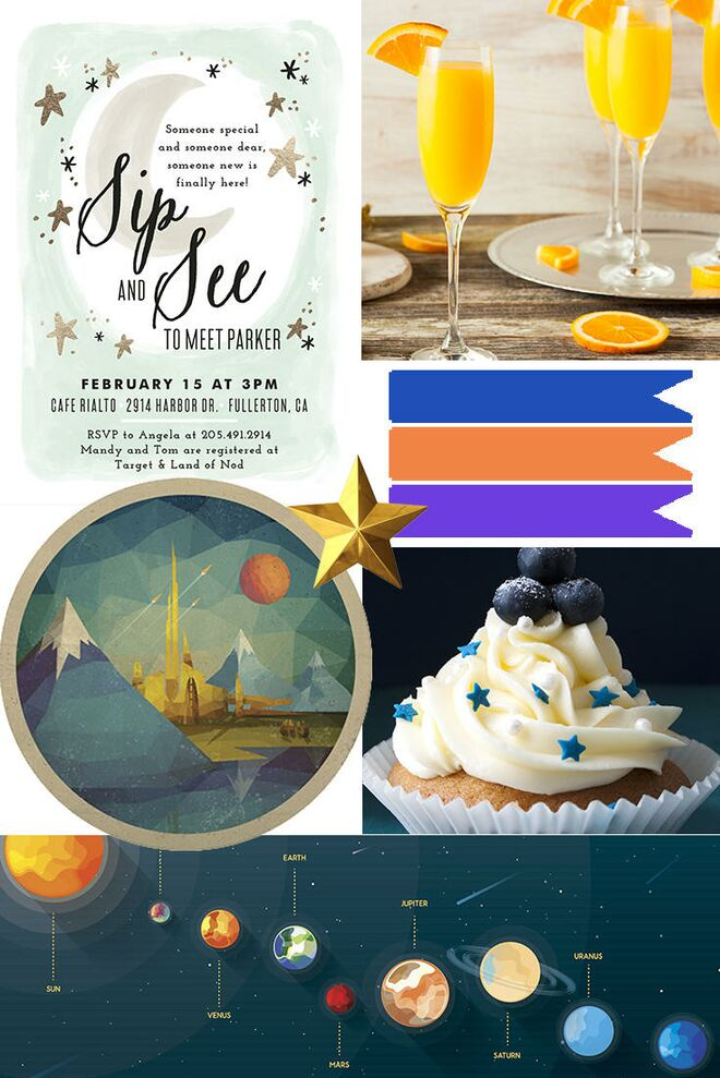 Sip and see party invitations menu ideas and more sip see theme universe expand planets baby forumfinder Images