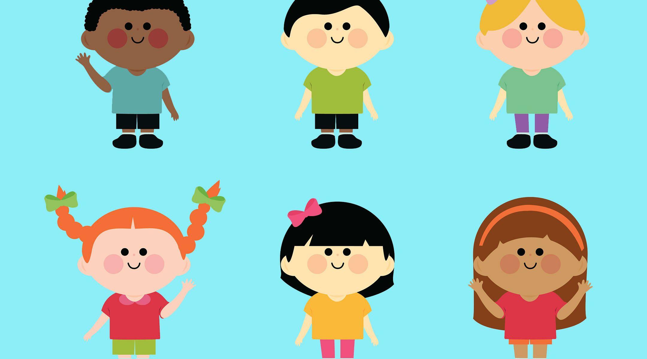 happy illustrated diverse kids together