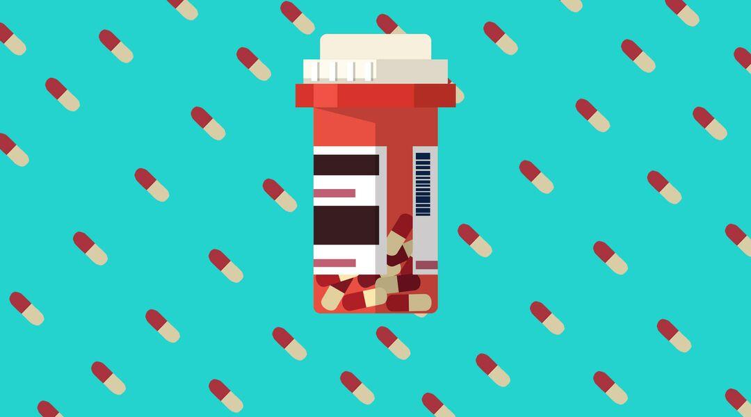 Illustration of a prescription bottle full of pills