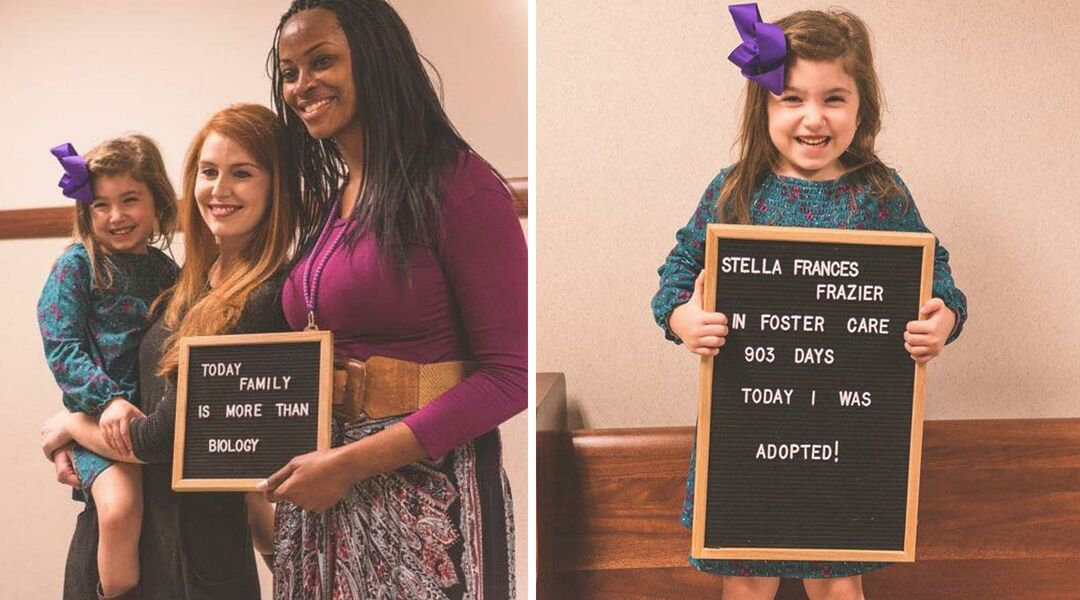 Judge holding letter board about adoption