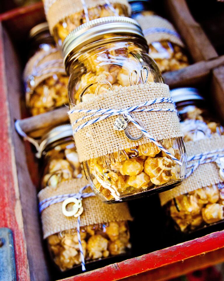 Mason jars filled with popcorn