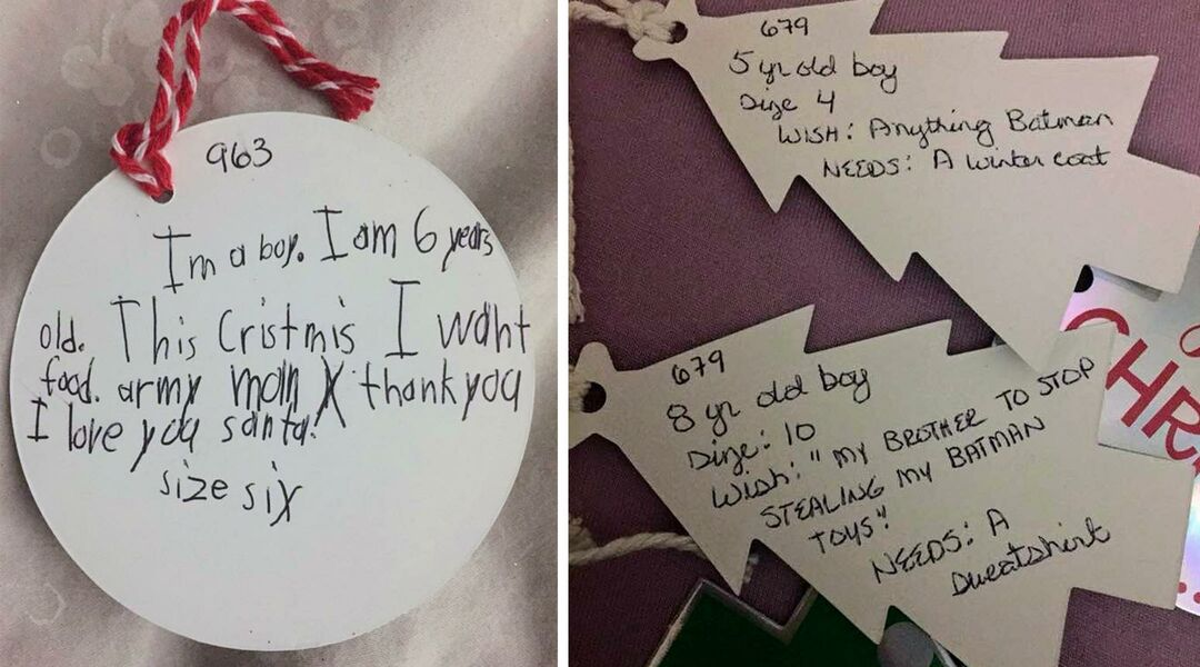 Christmas Lists.Gift Tags Show Christmas Lists Of Kids In Foster Care