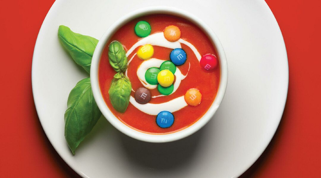 Pregnancy Cravings tomato soup and M&Ms