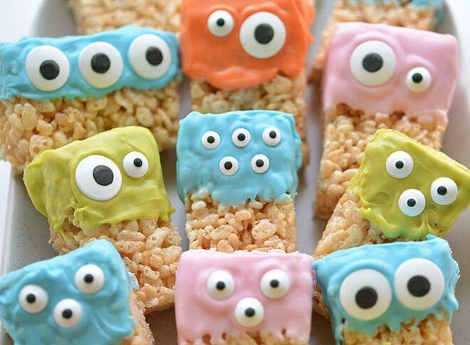halloween treats rice krispie monsters