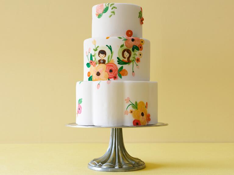 Petal shaped cake with hand painted details