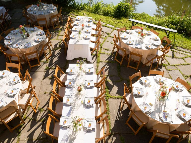 An aerial shot of a lakeside reception