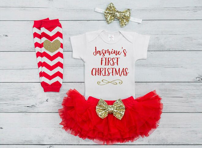 baby first christmas outfit girl