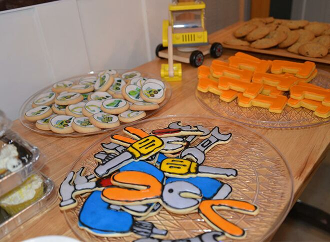 Tool Shaped Cookies At Home Depot Themed First Birthday Party