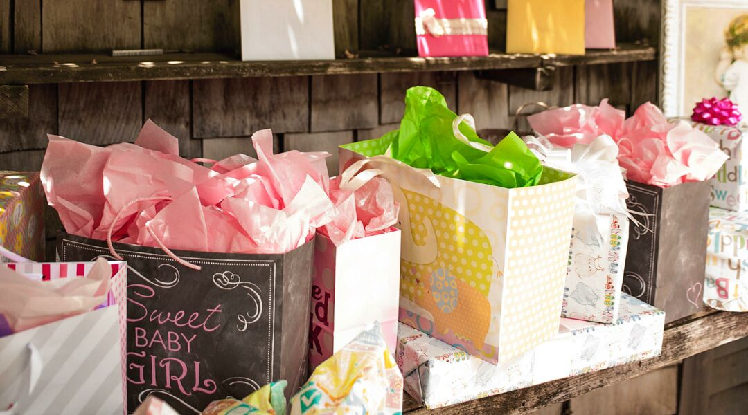Presents at a baby shower.