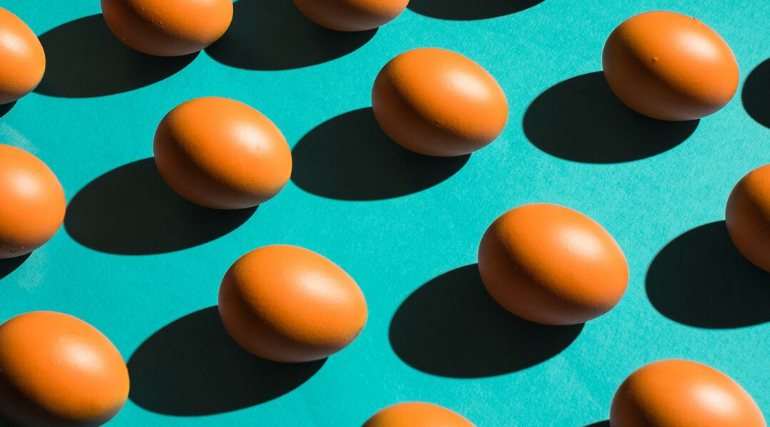 Still life with eggs placed in repeating pattern on teal background.