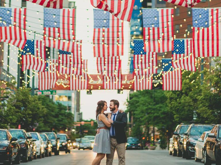 American flag backdrop for engagement photo session