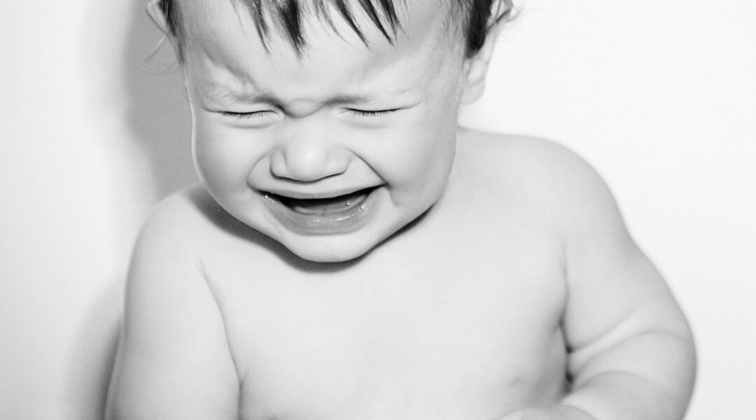 Fussy Baby crying black and white