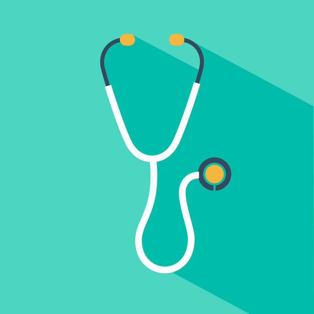 Illustration of a stethoscope on a teal background