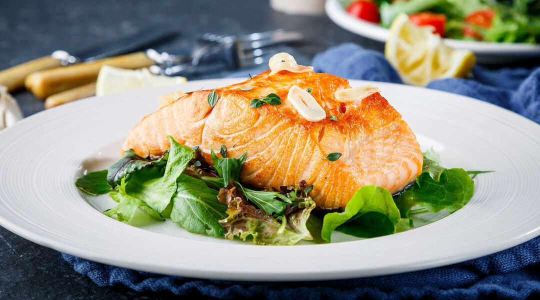 cooked salmon fish dinner plate