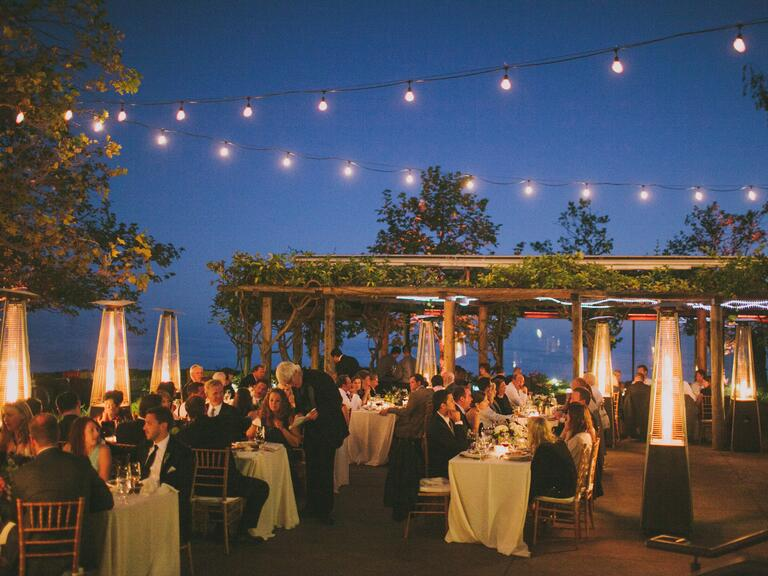 Strings of lights at a reception add a romantic touch