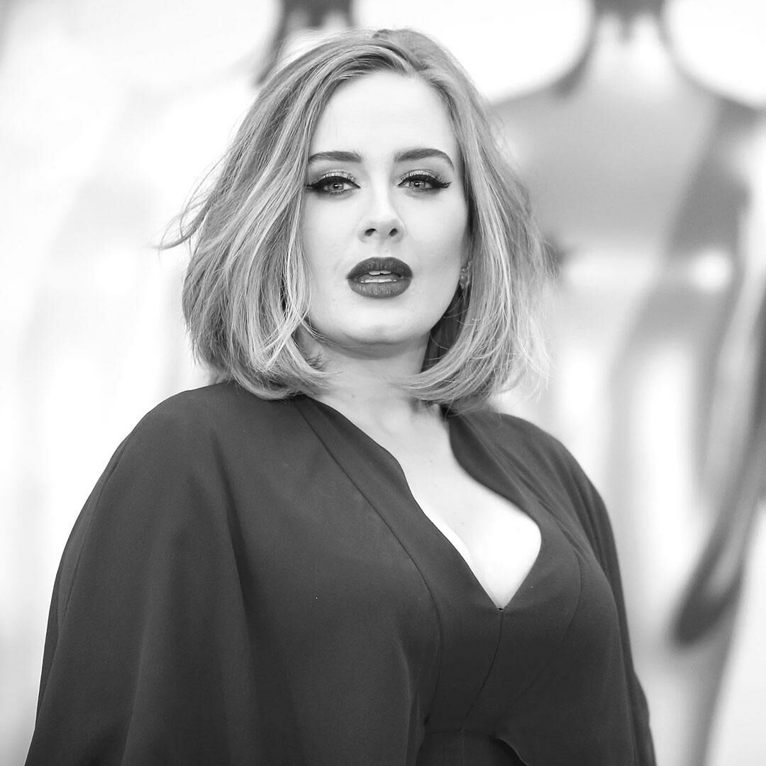 Black and white photo of Adele